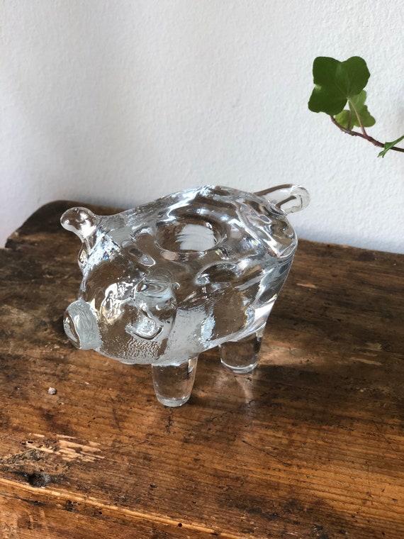 Swedish crystal Kosta Boda  glass pig figurine candle holder designed by Bertil Vallien