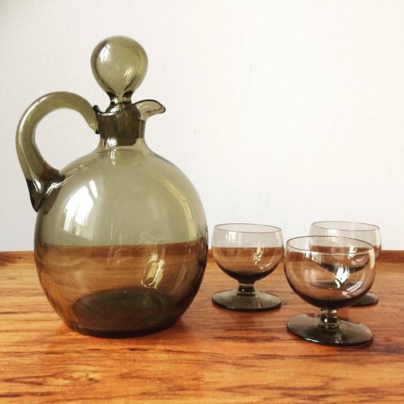 Swedish /decanter and 3 glasses/handblown Swedish glassworks/smokey glass/handblown/midcentury modern/Scandinavian
