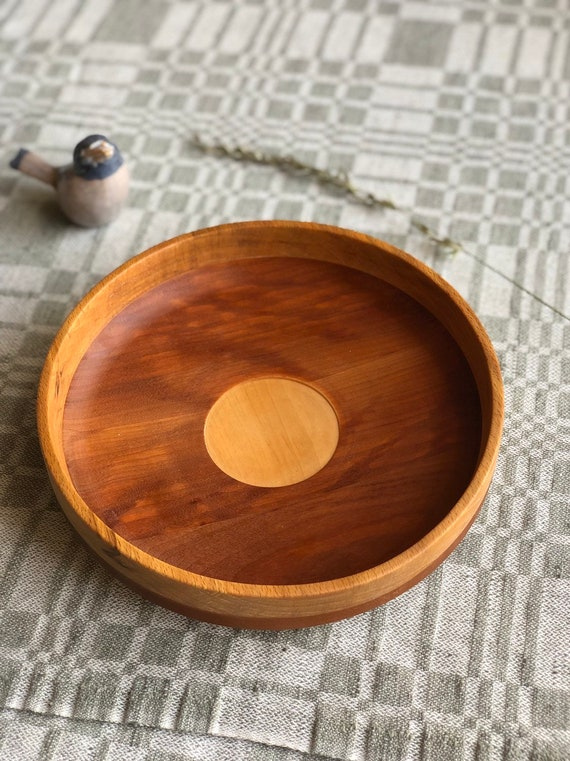Swedish  hand turned midcentury modern  wooden bowl primitive handcrafted teak with inlay stripe