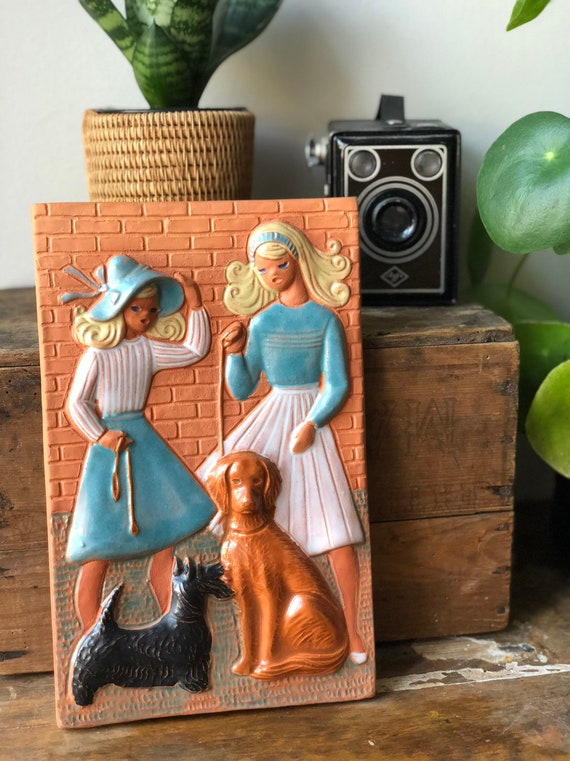 Jie Edith Risberg Gantofta Sweden ceramic wall tile / wall plaque  ceramic girls and dogs /  boho wall hanging 1950s
