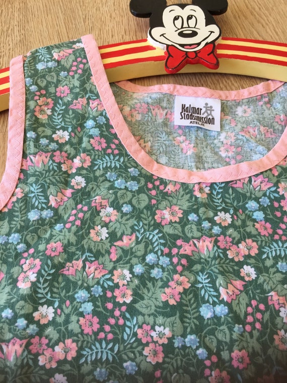 Girls sweet aline Pink Green floral handmade dress with pink edging Scandinavian Swedish