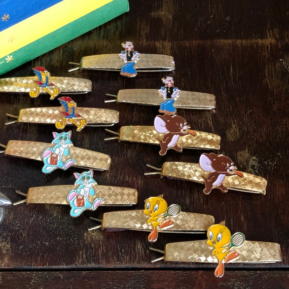 Vintage Warner Brothers barrettes / hair clips: Tom and Jerry, Popeye, the Roadrunner, Tweety Bird