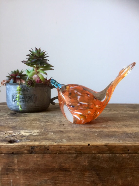 Art glass hand blown soft glass bird figurine 1970s