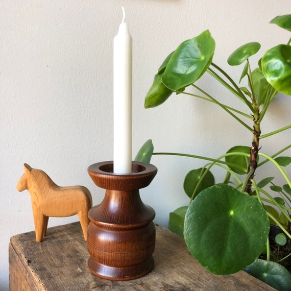 Swedish wooden turned candle stick holder Scandinavian woodworking midcentury modern design Vintage