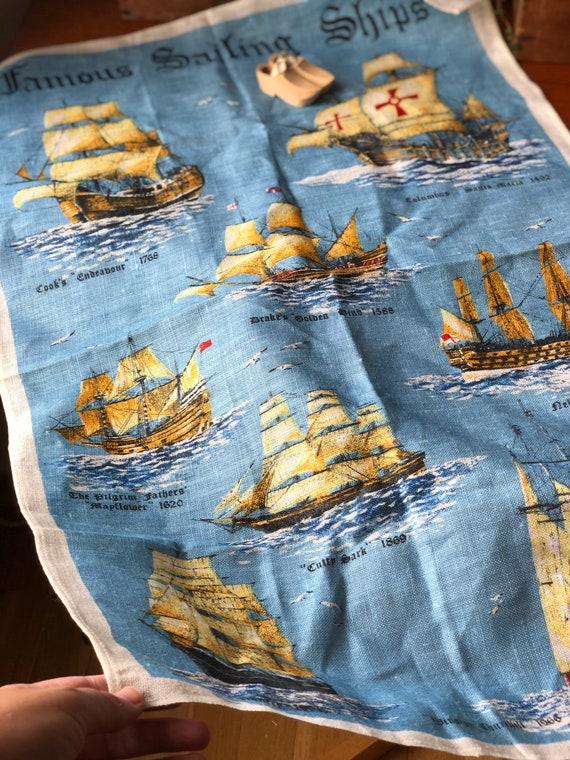 Irish linen vintage seascape Famous Tall ships tea towel / kitchen towel from Ireland featuring tall ships