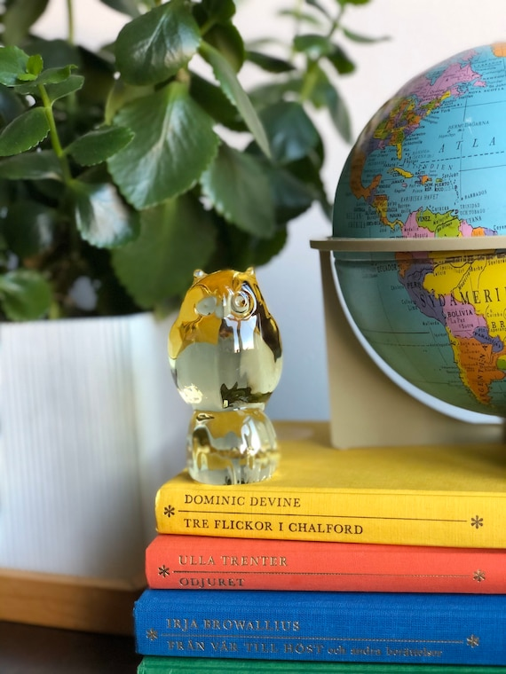 Reijmyre glass owl figurine with yelllow glass Scandinavian glass made in Sweden