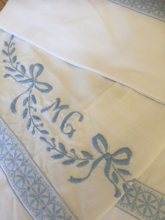 Scandinavian pair of twin flat sheets hand embroidered monogrammed MG flat sheet
