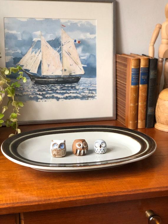 Arabia Karelia Finland Large oval Serving Platter Uosikkinen Hand Painted  Stoneware Brown Rim Scandinavian Design