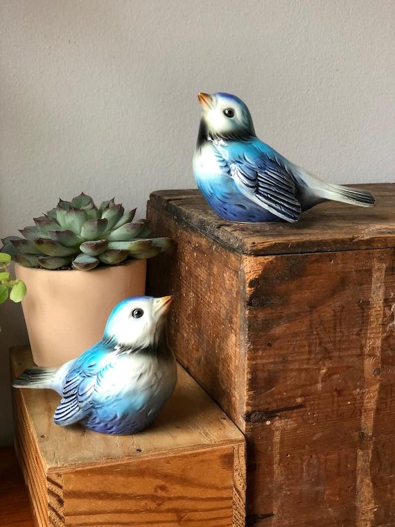 Pair Goebel ceramics turquoise bird figurines West Germany ceramics midcentury modern