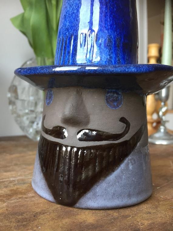 Vintage vase/Scandinavian/Swedish/Jie/ Elsi Bourelius/ Jie Gantofta Sweden/series/ gentleman / cobalt blue