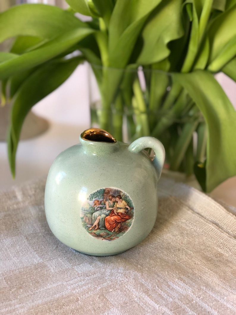 Danish romantic Victorian style vase Soholm design gold trim with romantic scene