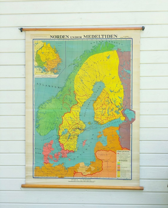 Large Vintage Swedish classroom Map of Scandinavian/ Norden Middle Ages printed in Stockholm by Hugo Valentin