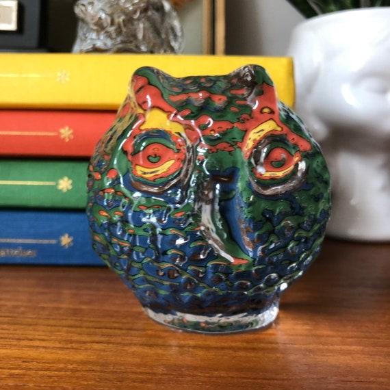 Modern owl glass sculpture figurine Swedish Scandinavian design 1960s Modernist / crystal