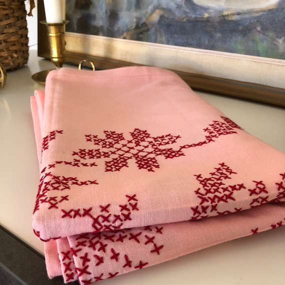 Floral Tablecloth Vintage Scandinavian linen cotton hand embroidered cross stitch tablecloth red and pink hygge scandinavian collection
