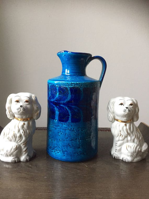 Bitossi large modernist jug vase fat lava/Italy/stunning blue glaze 1960s flavia montelupo