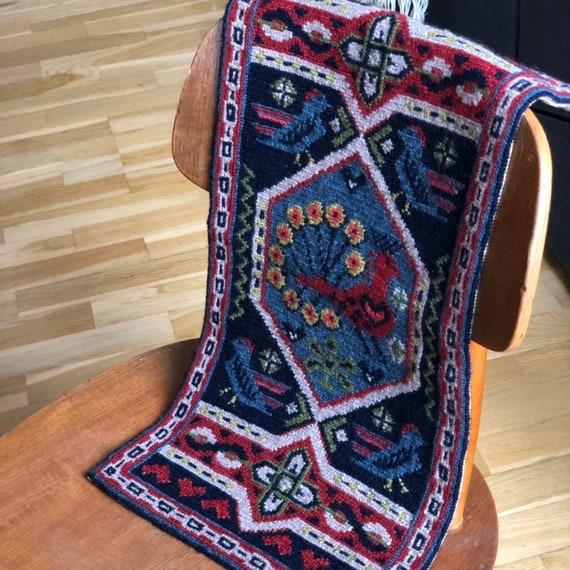 Tradition Swedish folk art twist stitch needlepoint wall hanging birds and flowers brass hardware nanna chic granny chic