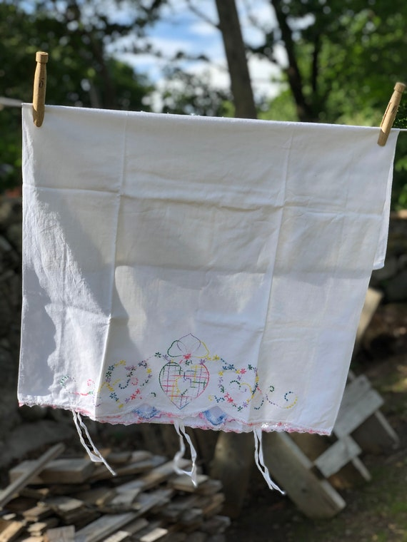 Vintage Scandinavian cradle crib pram duvet cover sheet crisp white with red and blue rabbit pattern trim cottage core