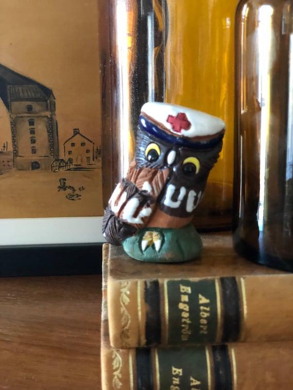 Casals Ceramics de Peru Red Cross hat ceramic owl miniature small figurine