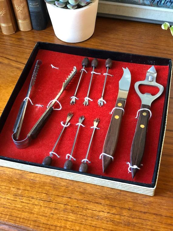 Vintage bar set Bottle opener tongs cocktail forks teak danish design midmod sleek knife