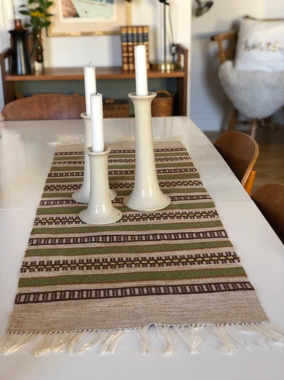 Retro scandi Table Runner Swedish folk art linen traditional pattern tablecloth boho/tablescape