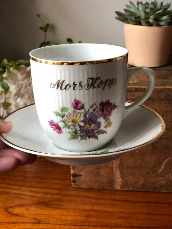 Swedish vintage mother's cup tea cup and saucer / mors kopp 1960s floral pattern / purple pink and yellow flowers