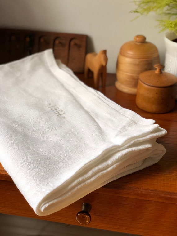 Vintage linen woven Scandinavian large tablecloth natural fibers hygge white