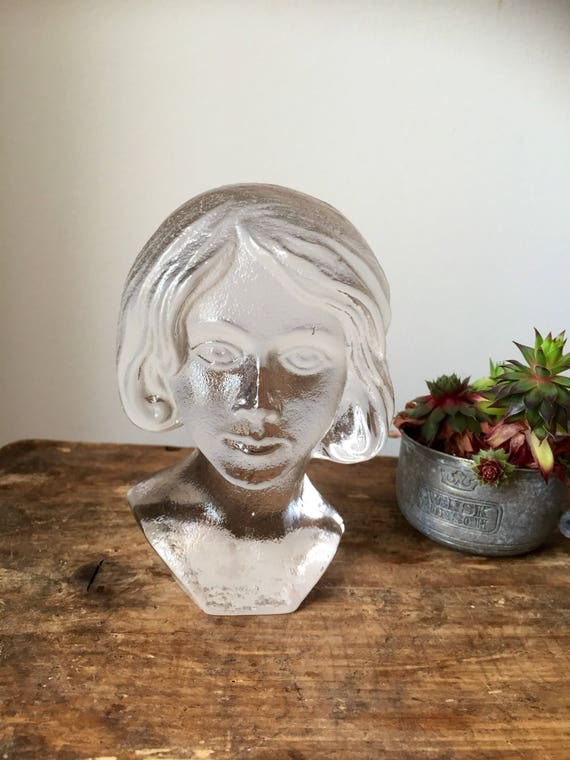 Bergdala glassworks Swedish crystal girl statue bust figurine paperweight or bookend