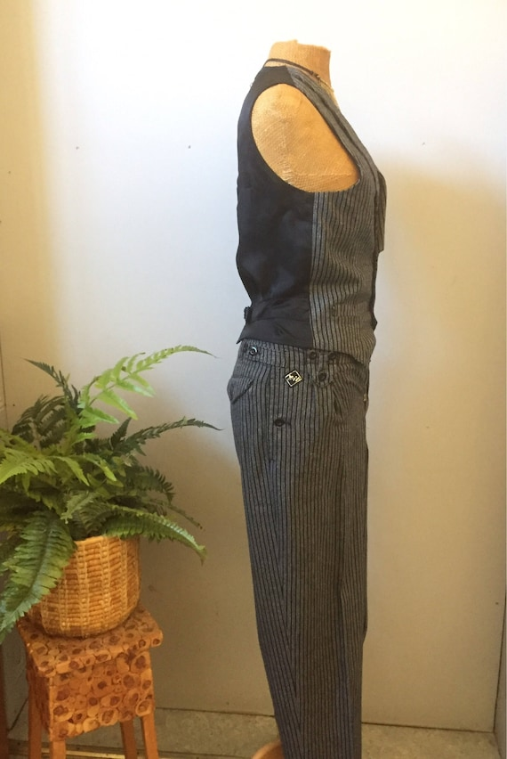 80s/Finnish/pant suit/vest/ high wasted pants/by X-it