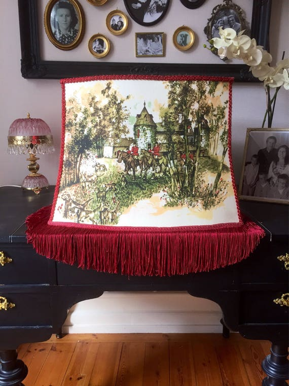 Victorian /Large/fringe/Hunting Scene Tally Ho/lamp shade/rich maroon color/silk screened print on both sides