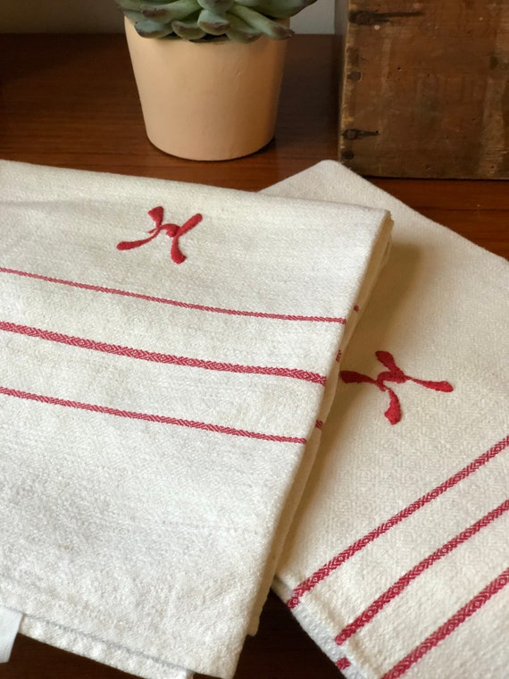 Pair of Vintage woven Scandinavian hand towels kitchen towels monogram H red  and white farmhouse kitchen