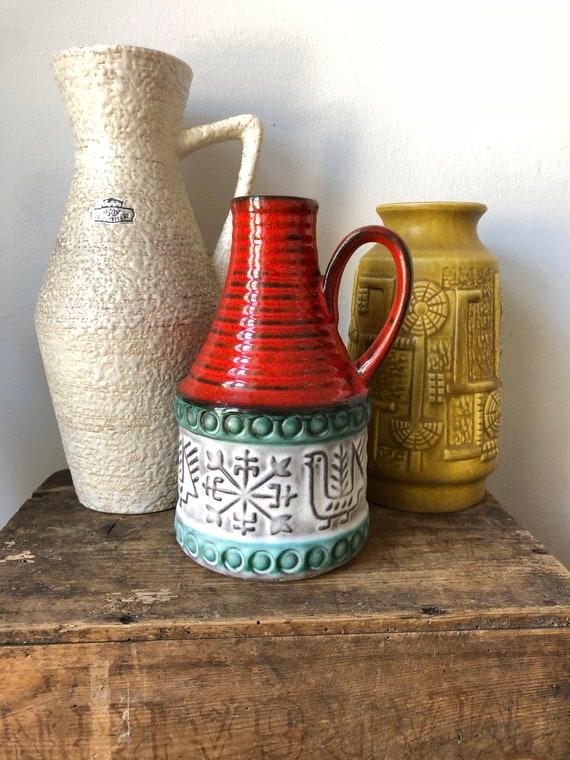 Gorgeous midcentury modern Bay west german pottery 1960 fat lava / 952-17 / 65 17