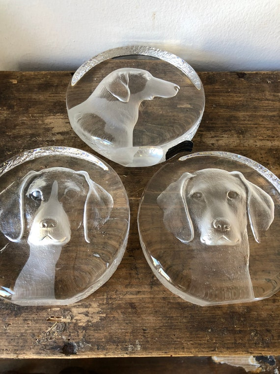 Mats Jonasson canine dog series crystal engraved sculpture paper weight art glass animals 1974 - 1977 / Royal Krona group Sweden signed