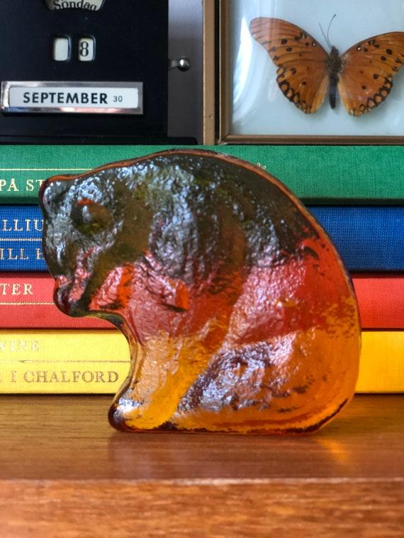 Modern bear brunt orange amber glass sculpture figurine Swedish Scandinavian design 1960s Modernist