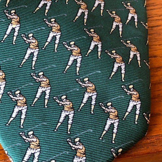 Vintage Italian silk tie miniature golfers golf tie in green and brown by UOMO