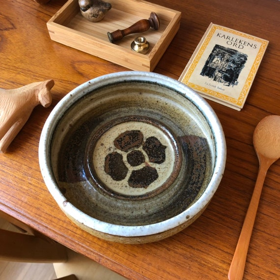 Drejar Gruppen rörstrand large dish bowl ashtray salt glaze signed 1975 Swedish Rorstrand