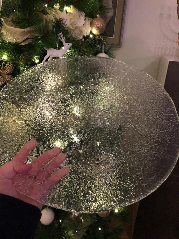 Large Magnor glass platter cake plate crystal plate 37 cm diameter