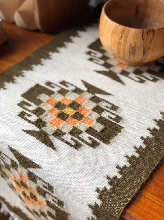 Handwoven tapastry boho wool table runner / wallhanging / small rug made in Greece