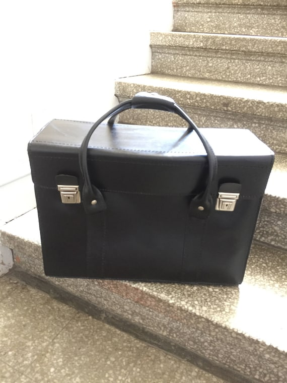Mens vintage leather tote attasche valais luggage carryon black leather / weekend bag day tripper holdall bag