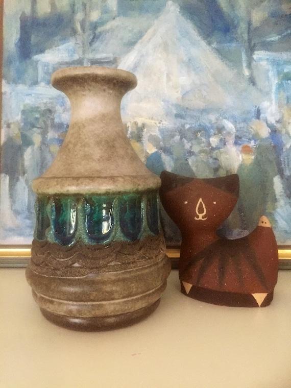 Stehla/vase/boho/midmod/wgp/gray and bejeweled blues/1970s/shelfie/modernist/fat lava