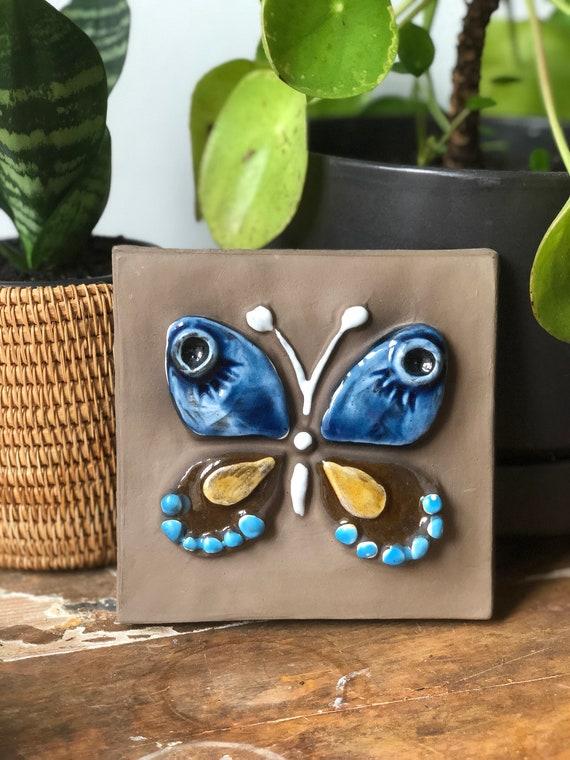 Jie Annika Kihlman Gantofta Sweden ceramic wall tile / wall plaque  ceramic plaque butterfly /  boho wall hanging