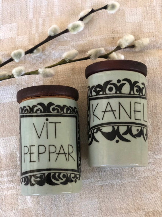 Vintage Rörstrand spice canisters teak and cork lids kulinär series Swedish / labled pepper and cinnamon scandi kitchen storage