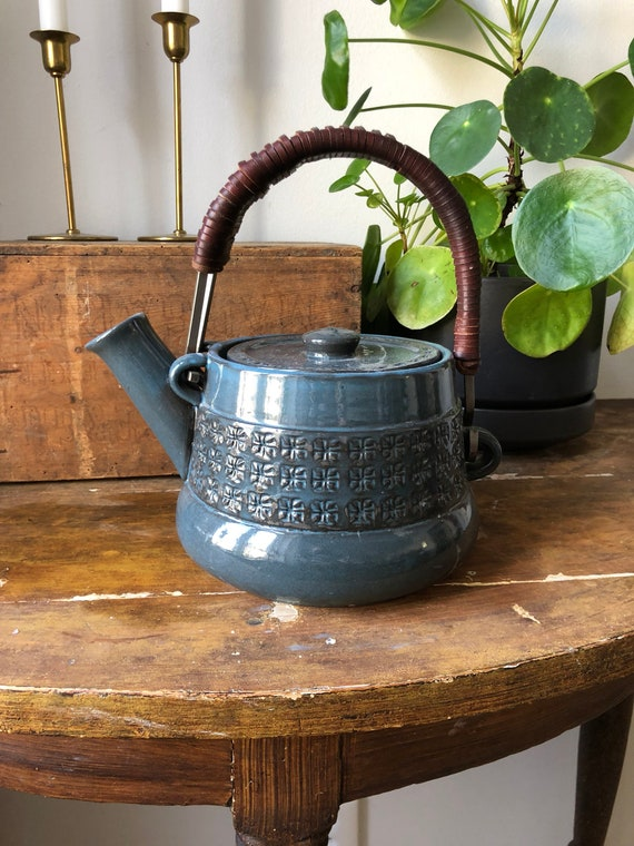 Swedish mid century modern tea pot designed by JIE teapot Sweden leather handle