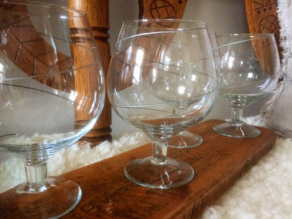 Orrefors glasses from the line series / cognac glasses set of 5 1980s perfect for gin and tonic glasses