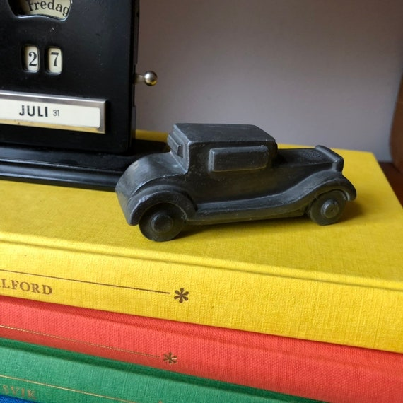 Miniature Vintage Swedish bronze car figurine by Herman Bergman made in Sweden