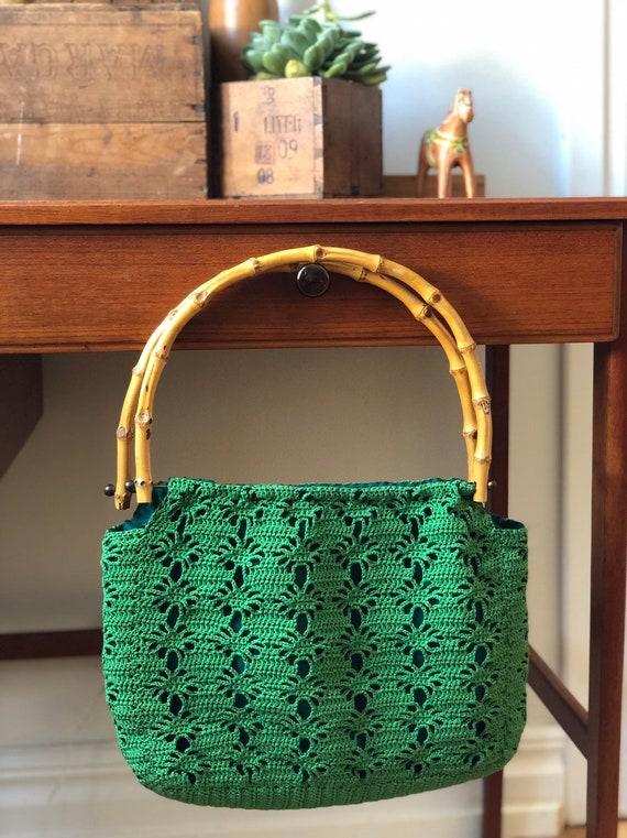 Boho bag crochet bamboo handle market bag vibrant green handbag macrame