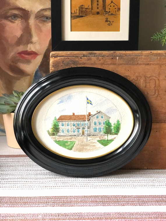 Original Swedish water color painting of Swedish country house still signed EP 1946 small oval painting framed