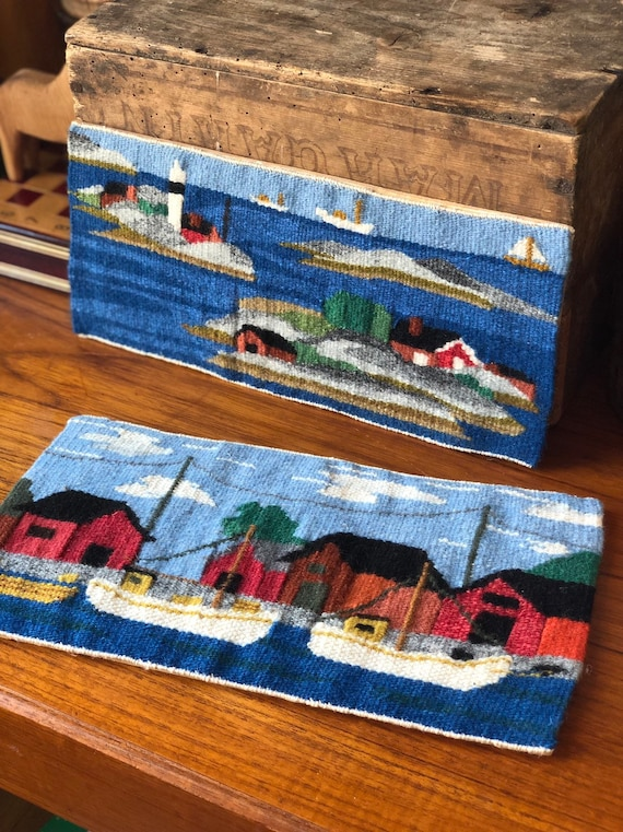 Pair of Handwoven kilim wallhanging scandinavian harbor Flemish slow art flamsk nanna chic sea port  seascape colorful