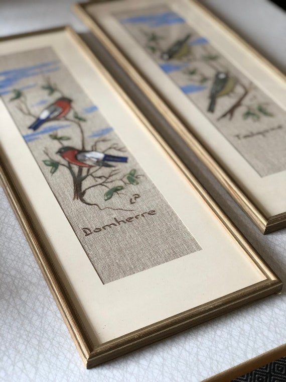Pair of vintage Swedish hand painted birds on linen midcentury scandinavian framed art vibrant colors Sweden / talgoxe / domherre
