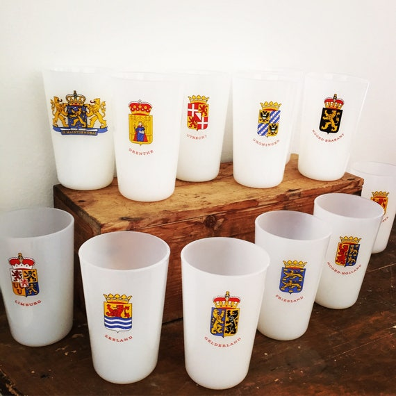 Dutch Milk glass features the provinces Netherlands arms made in france vintage Holland