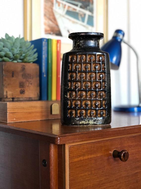 VEB haldensben modernist vase relief brown and orange series midmod